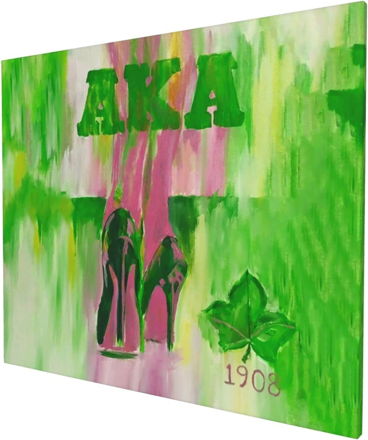 Al-ph-a K_a-pp_a Al-p_ha 1908 AKA Sorority Decor Canvas Framed Wall Decoration Gallery Wall Decor Picture Artwork to Hang for Kitchen Living Room Bedroom Office 20x24 inch Decorative paintings