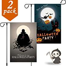 Coolrunner Halloween Garden Flag Decorations, 2Pack Double Sided Home Garden Yard Flag Trick Or Treat Flag Outdoor Décor - Pumpkins Bats Moon Castle Vampire Halloween Party 12x18 Inch (Style 1)