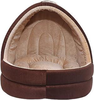 Mellifluous Dog and Cat Cave Pet Bed (Medium, Brown-Cream)