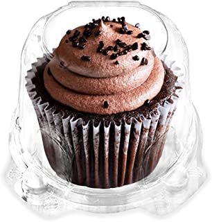 Cupcake Boxes Single Compartment By Green Direct - Stackable Cupcake Carrier - Plastic Dome Holder - Clear Containers BPA Free Pack of 50