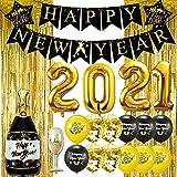 iZoeL Silvester Deko 2021, Happy New Year Girlande, Folienballons, Golde Glitzer Vorhang, Luftballons zur Silvesterdeko, Konfetti Ballons schwarz Gold