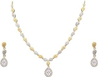 Women's Imitation Fashion Jewellery Stylish American Diamond Occasion Wear Pendent Necklace Set 5 X 5 X 5 white