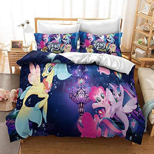 MULMF Duvet Covers Twin Size, My Little Pony Bedding Set with Zipper, Unicorn Kid's Cartoons Comforter Cover 68