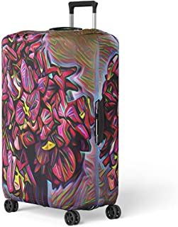 Semtomn Luggage Cover Digital Bouquet of Flowers in Vase Drawing Mussaenda Petals Travel Suitcase Cover Protector Baggage Case Fits 18-22 Inch