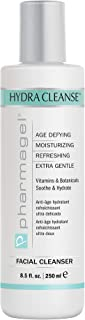 Pharmagel Hydra Cleanse Water Rinseable Facial Cleanser for All Skin Types | Natural Face Wash | Hydrating, Age Defying, and Revitalizing Face Cleanser | 8.5 fl. oz.