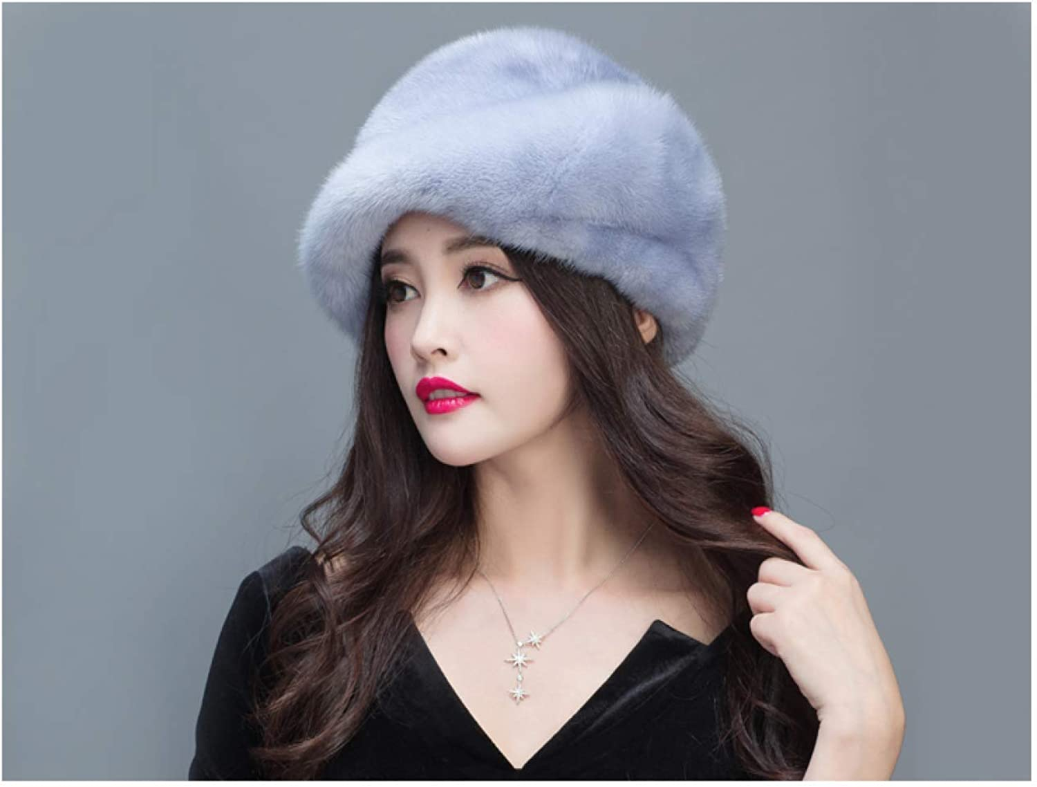 BABYHYY Winter Warm Hat Ladies Leather Hat Suede Fur Hat Fur Leather Earmuffs Cotton Cap