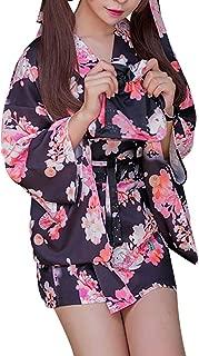 Women's Kimono Sakura Floral Print Short Cosplay Traditional Japanese Haori Sleepwear Lounge Wear Lingerie Robes