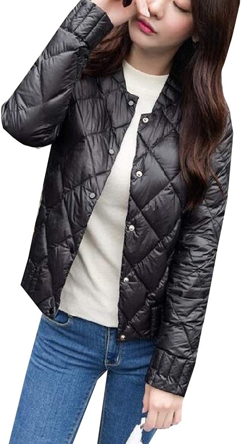 Esast Womens Jackets Coats Padded Button Up Lightweight Quilted Coat