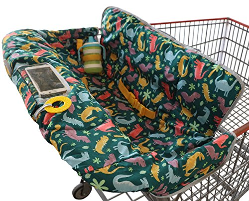 Shopping Cart Cover for Baby or Toddler | 2-in-1 High Chair Cover | Universal Fit for Boy or Girl | Includes Carry Bag | Machine Washable | Fits Restaurant Highchair (Dinosaurs)…