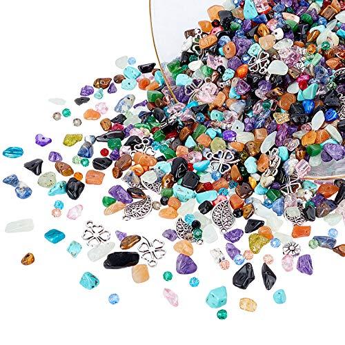 AHANDMAKER DIY Jewelry Making Kits, 9 Kind of Pendants & Beads, Glass Beads, Freshwater Shell Beads, Natural & Synthetic Gemstone Beads strand, Tibetan Style Alloy Pendants for DIY Jewelry Making