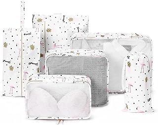 Suitcase Organizer Packing Cubes Laundry Pouch 6 pieces/Set White Flamingo