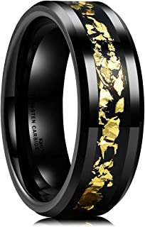 Nature Mens 8mm Black Tungsten Carbide Wedding Ring with Black and Gold Foils Inlay Beveled Edge