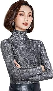 Ababalaya Women's Retro Basic Turtleneck Glitter Long Sleeve Slim Fit Blouse Top