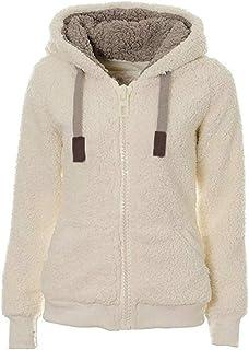 Generies Winter Fleece Sweater Fluffy Thick Hooded Warm Zipper Cardigan Ladies Winter Jacket Solid Color Top Cardigan Sweater
