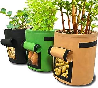 3Pcs Potato Grow Bag for Potato Carrot 7 Gallon Velcro Window Vegetable Grow Bag
