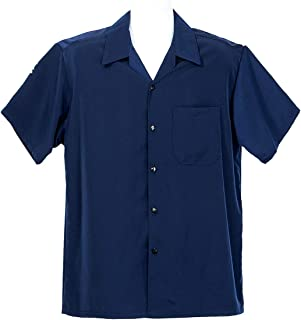 ALLBrand Men's Short Sleeve Solid Button-Down Camp Shirt (5X-Large, Navy)