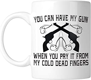 Amdesco You Can Have My Gun Pry It From My Cold Dead Fingers 11 Oz White Coffee Mug (1 Mug)