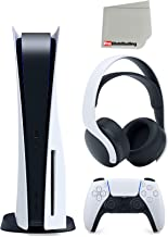 Sony Playstation 5 Disc Version with PULSE 3D Wireless Gaming Headset Bundle with Microfiber Cleaning Cloth