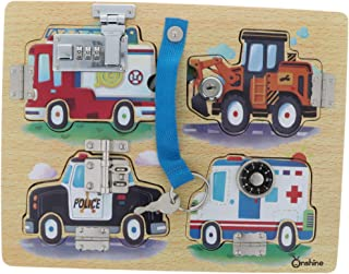 Baosity Montessori Principles Natural Learning Latch Locks Board Educational Toy - Vehicles Pattern, as described
