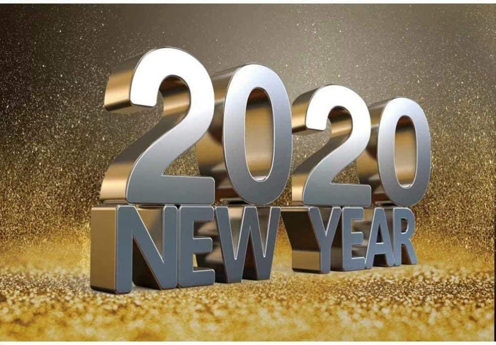 New 2020 Happy New Year Backdrop 7x5ft Polyester Fabric New Year Party Photos Background Glitters Bokeh Background New Year Eve Events Decor New Year Festival Celebration Photos Props