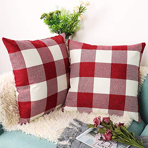 Accmor 2 Pack Buffalo Check Plaid Pillow Covers 18x18 Inches Throw Cushion Case for Home Sofa Farmhouse Christmas Décor