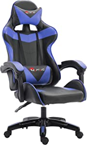 RAPTAVIS Gaming Chair Office Computer Ergonomic Video Game Chair Backrest and Seat Height Adjustable Swivel Recliner with Headrest and Lumbar Cushion Esports Chair (Blue)