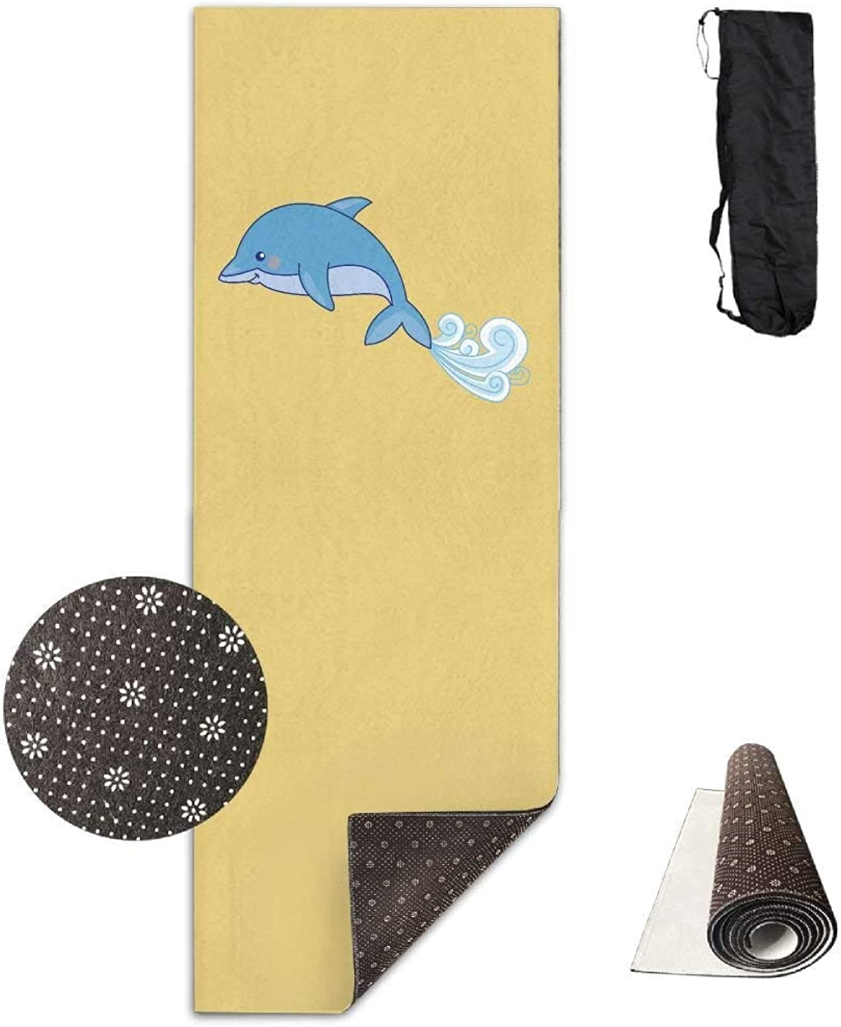 Yoga Mat Non Slip Dolphins Printed 24 X 71 Inches Premium for Fitness Exercise Pilates with Carrying Strap