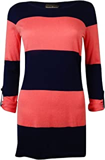 Women's Beach Sweater Bold Stripe W/Roll Up Sleeve Cover-up