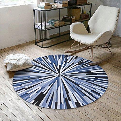 Motif Géométrique Tapis Rond Tapis Rond Maison Creative Tapis Pour Chambre Table Basse Salon Chambre Chevet Chaise D'ordinateur (Couleur : Bleu, taille : 100cm)
