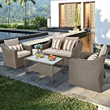 SOLAURA Outdoor Patio Furniture Set 4-Piece Conversation Set All Weather Wicker Furniture Sofa Set with Sophisticated Glass Coffee Table-Grey