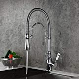 Kunmai High Arc Swirling Dual-Mode Pull-Down Kitchen Faucet with Porcelain Handle,Chrome
