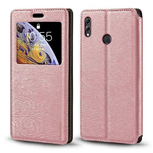 Capa para Huawei Honor 8X Max, capa de couro de grão de madeira com suporte de cartão e janela, capa flip magnética para Huawei Honor 8X Max