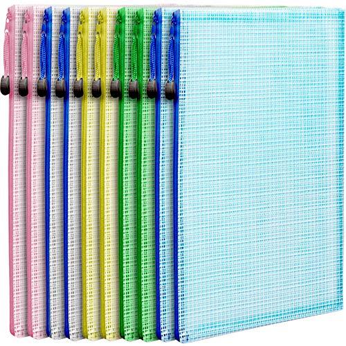 10 PCS Mesh Zipper Pouch Document Bag, LEOBRO Letter Size/A4 Size Zip File Folders, Waterproof Plastic Envelopes Folders, for School Office Supplies, Travel Storage Bags, File Pockets, 5 Colors