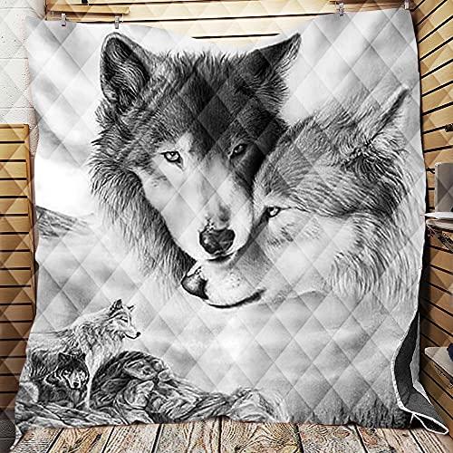 Chickwin Tagesdecke Bettüberwurf Gesteppt, 3D Wolf Tagesdecke Schlafzimmer Mikrofaser Steppdecke Decke Überwurf Wohnzimmer Sofaüberwurf für Einzelbett Doppelbett (Grauer Wolf,150x200cm)