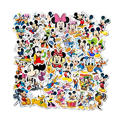 YZFCL Mickey Mouse Pegatinas de Dibujos Animados para niños Taza de Agua Linda teléfono de la computadora portátil Pegatinas Decorativas de Graffiti a Prueba de Agua 50 Piezas