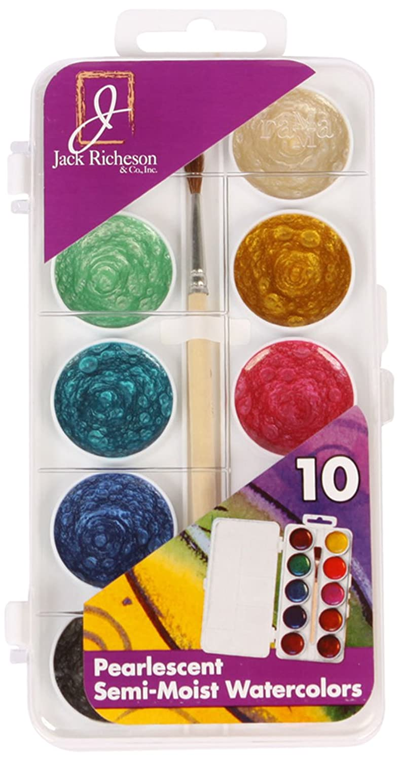 Jack Richeson Student Semi Moist Pearl Watercolor with Brush, Set of 10