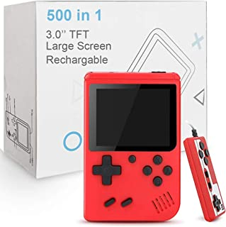 TrophyRak Handheld Game Console, Retro Mini Game Console, 500 Classical FC Games, Built-in 800mAh Rechargeable Battery, Support for Connecting TV & 2 Players