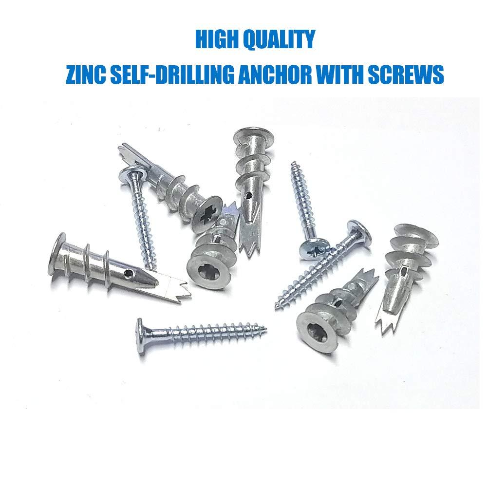 YANWOO 50pcs Plastic Self Drilling Drywall Anchors with Screws