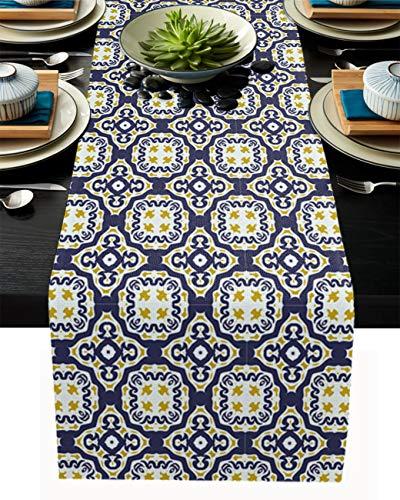FAMILYDECOR Camino de mesa de arpillera de lino, bufandas de 45,7 x 182,8 cm, patrón circular azul, caminos de mesa para fiestas de vacaciones, comedor, cocina, decoración de boda