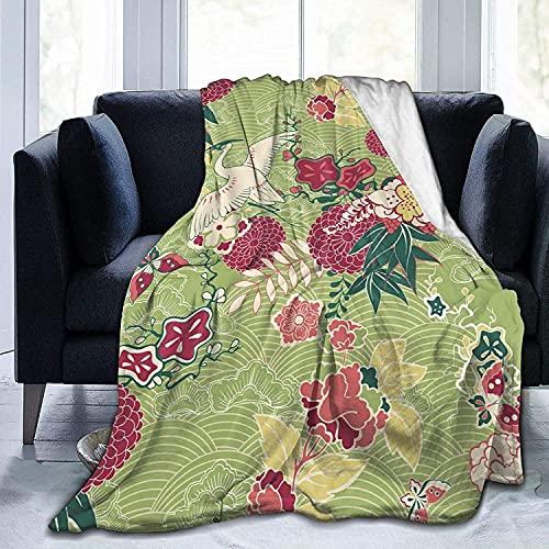 Oriental Silk Pattern Throw Fleece Blanket Flannel Ultra Soft Lightweight Microfiber Luxury...