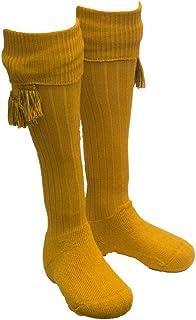 Walker and Hawkes Men`s Shooting Country Scarba Socks & Matching Garter Ties MEDIUM Ochre