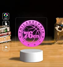 Customize 76ers 3D Illusion LED Night Light Lamp Handmade Home Bedroom Decorative Night Light USB Cable Smart Touch Button LED Multi 7 Color Change LED Desk Table Light