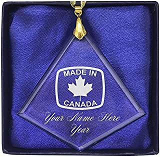 LaserGram Christmas Ornament, Made in Canada, Personalized Engraving Included (Diamond Shape)