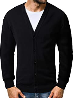 Matchstick Men's Button Through V Neck Knitted Cardigan #Z1522(Black,UK L (Asian tag Size 2XL))