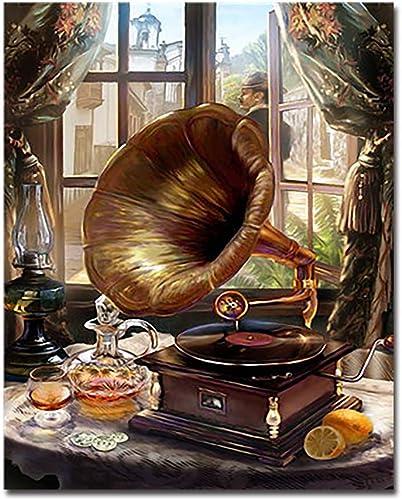 CHAORENZHU Phonograph DIY Digitale maßen Nach Zahlen Kits F ung Aufzeichnungen  ilder Wandkunst Leinwand Wohnkultur