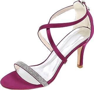 Vimedea Womens Ankle Strap Dress Heeled Sandals Shiny Wedding Bride Open Toe Satin 9920-12