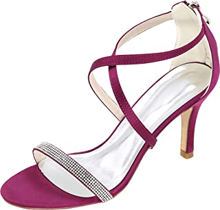 Vimedea Womens Ankle Strap Dress Heeled Sandals Shiny Wedding Bride Open Toe Satin 9920-12