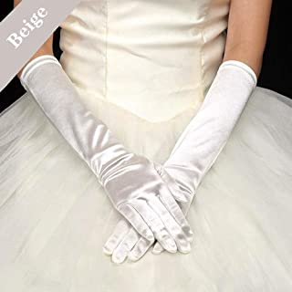Long Flapper Evening Opera Satin Gloves for Women Costume Accessories,Beige