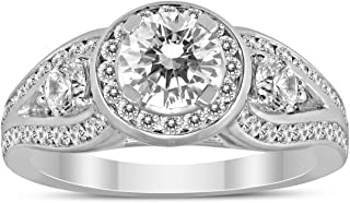 AGS Certified 1 3/4 Carat TW Diamond Engagement Ring in 14K White Gold (H-I Color, I1-I2 Clarity)