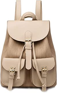 Fashion Academy Style Backpack Travel School Shoulder Bag Daypack (Color : Apricot)